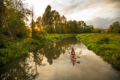 Canoeing in Still Creek, Burnaby,  British Columbia. - p1166m2202121 by Christopher Kimmel / Alpine Edge Photography