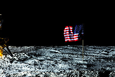 An American flag on the surface of the moon - p30110070f by Caspar Benson