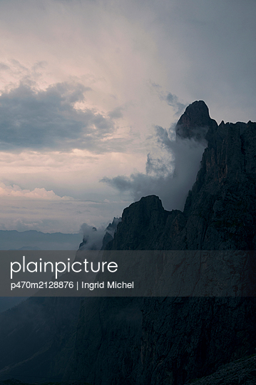Pale di San Martino with fog - p470m2128876 by Ingrid Michel
