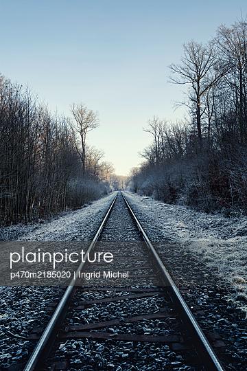 Railway tracks in winter - p470m2185020 by Ingrid Michel