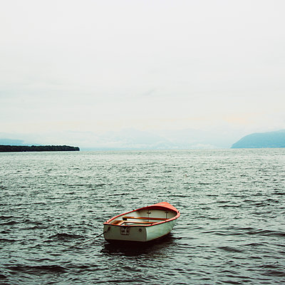 Small boat on the lake Geneva. Haute-Savoie. France - p813m1461276 by B.Jaubert