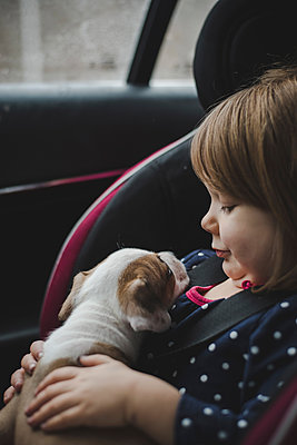Close-up of girl with puppy sitting in car - p1166m1560936 by Cavan Images