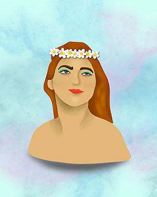 A Girl With Flowers In Her Hair - p1655m2288473 by lindsay basson