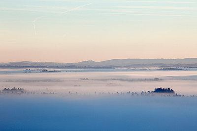 View of mountain in fog - p300m660028f by Martin Siepmann