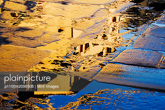 Reflections in the Paving Stones of the Piazza della Signoria - p1100m2090908 by Mint Images