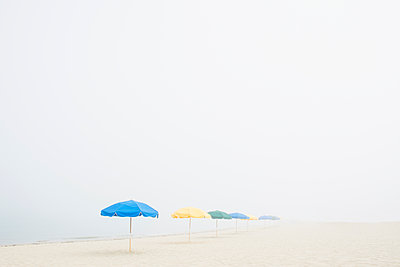 Empty beach with umbrellas and fog - p1427m2254875 by Chris Hackett