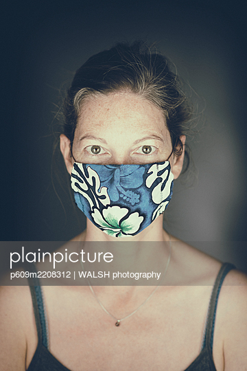 Woman mask virus protection portrait coronavirus - p609m2208312 by WALSH photography