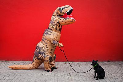 Dino führt Hund aus - p045m2014806 von Jasmin Sander