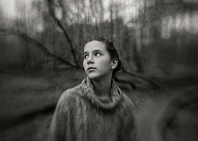 Girl Looking to Side in Forest - p1503m2015974 by Deb Schwedhelm