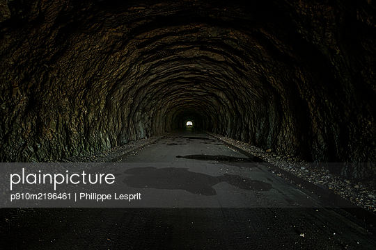 Tunnel in mountain mass, Vercors, France - p910m2196461 by Philippe Lesprit