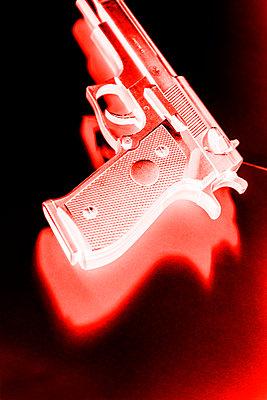 Hand gun, red, CGI - p975m2286083 by Hayden Verry