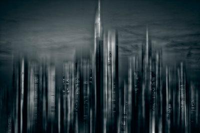 Skyline Frankfurt in Schwarz - p1684m2272100 von Klaus Ohlenschlaeger