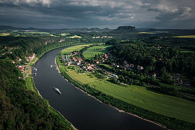 Boat on Elbe river - p354m1043365 by Andreas Süss