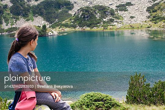 Bulgaria, Girl at the mountain lake - p1432m2283933 by Svetlana Bekyarova