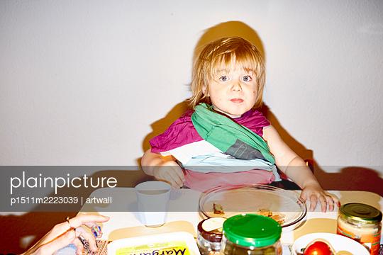 Little boy at breakfast - p1511m2223039 by artwall