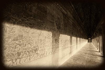 Bas-reliefs of Hindu myths at Angkor Wat, Angkor, Cambodia - p4424539f by Design Pics