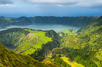 View over the Sete Cidades crater, Island of Sao Miguel, Azores, Portugal, Atlantic - p871m2019808 by Michael Runkel