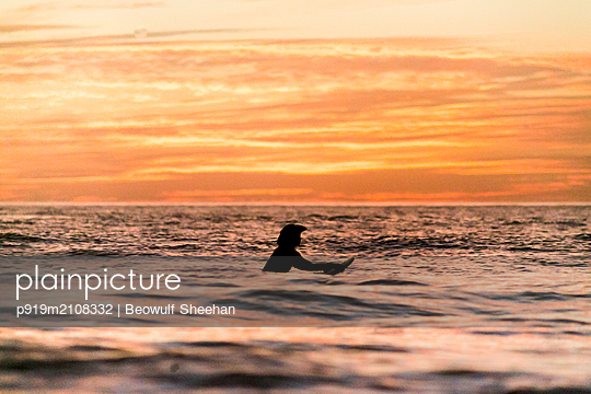 Woman on surfboard paddling in ocean  - p919m2108332 by Beowulf Sheehan
