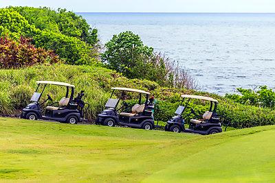 Golfwagen auf einem Golfplatz auf Bali - p1108m1441021 von trubavin