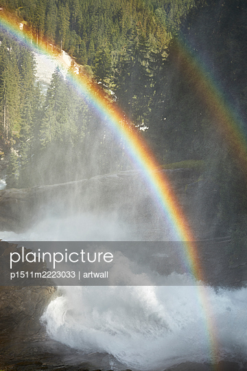 Two rainbows over waterfall - p1511m2223033 by artwall