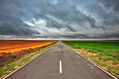 Spain, Province of Zamora, empty road and fields under cloudy sky - p300m1205057 by David Santiago Garcia