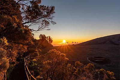 Reunion, Reunion National Park, Shield Volcano Piton de la Fournaise, Caldera Rempart and Formica Leo, sunrise - p300m2058701 by Fotofeeling