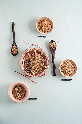 Bowls of different grains - p300m1047721f by Mandy Reschke