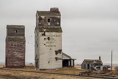 Abandoned grain elevators in rural Saskatchewan; Saskatchewan, Canada  - p442m1523978 by Robert Postma