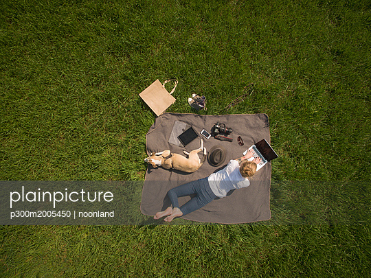 Bird's eye view of woman lying on blanket on meadow with dog using laptop - p300m2005450 von noonland