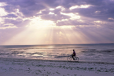 Fisherman cycling along the beach near Bweju against dramatic sky, island of Zanzibar, Tanzania, East Africa, Africa - p8710429 by Lee Frost