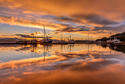 Commercial fishing boats in Auke Bay at sunset, Southeast Alaska; Juneau, Alaska, United States of America - p442m2074194 by John Hyde