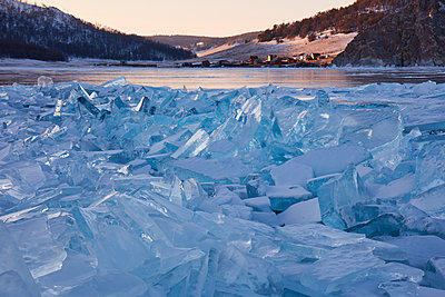 Lake Baikal in winter ice, Siberia, Russia - p871m2111478 by Rudi Sebastian