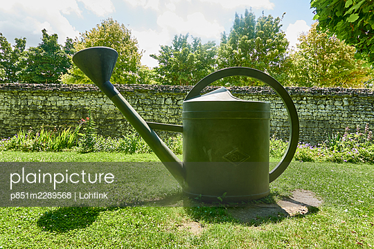 Watering can placed on lawn - p851m2289568 by Lohfink
