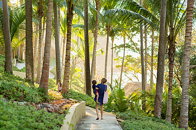 Caucasian mother carry son on path  with palm trees - p555m1305350 by Marc Romanelli