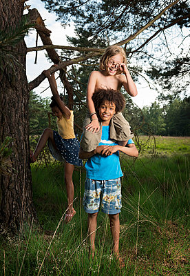 Kids play in the woods - p1132m1152768 by Mischa Keijser