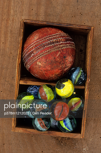 Cricket ball and marbles
