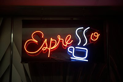 Neon sign at night - p429m1107050f by Seb Oliver