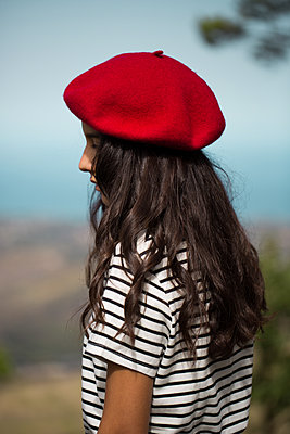 Girl with red beret - p1623m2212035 by Donatella Loi