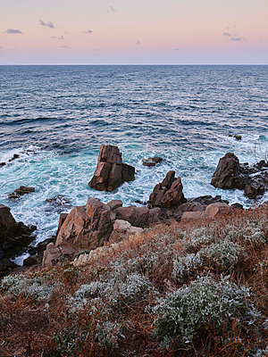 Bulgaria,  Rocks in the surf on a rocky coast - p390m2215618 by Frank Herfort