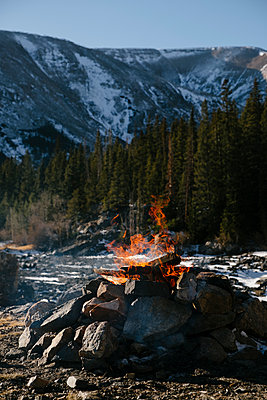 Campfire in Colorado Mountains - p1262m1194776 by Maryanne Gobble