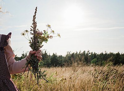 young girls hand holding a bunch of wildflowers outside at sunset - p1166m2137942 by Cavan Images