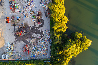Aerial view of landfill site - p312m1522045 by Mikael Svensson