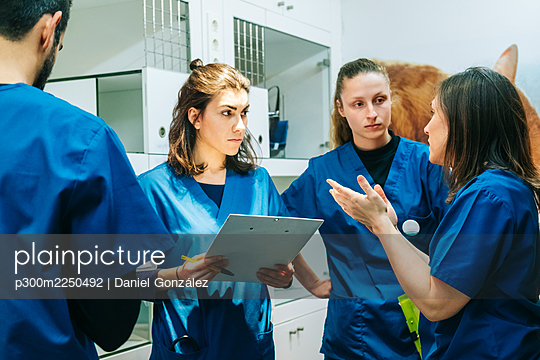 Female nurse gesturing while discussing with veterinarian colleagues in hospital - p300m2250492 by Daniel González
