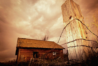 Wood shack and barbed wire - p4420835f by Design Pics