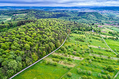 Germany, Baden-Wuerttemberg, Swabian Franconian forest, Rems-Murr-Kreis, Aerial view of meadow with scattered fruit trees and roads - p300m1587742 von Stefan Schurr