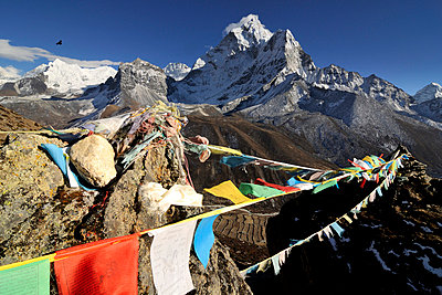 buddhist prayer flags in front of Nepal mountains - p316m664185 by Yevgen Timashov
