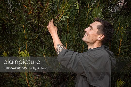 Hiker examines a bush - p1640m2261045 by Holly & John
