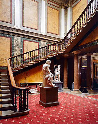 Brodsworth Hall. Inner Hall Staircase and statuary. - p8551710 by Paul Highnam