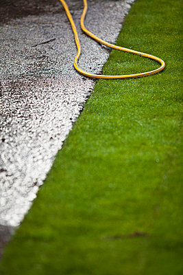 Grass turf with garden hose in lawn - p426m719876f by Katja Kircher
