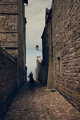 Old alley in Roscoff  - p470m2270102 by Ingrid Michel